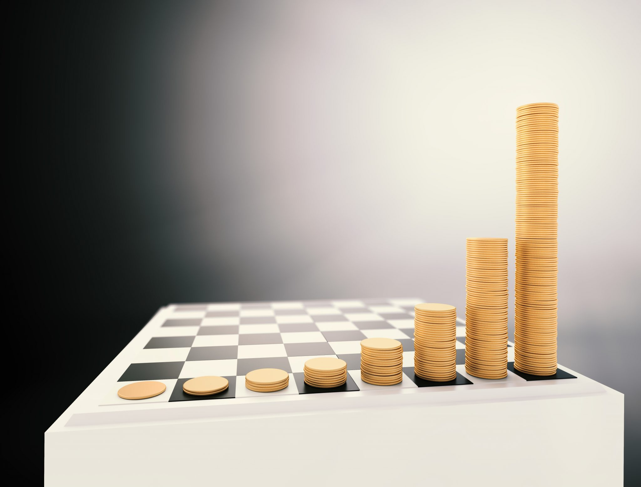 Chessboard with growing height coins stacks - arcinvest